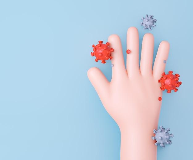 Mão dos desenhos animados 3d com célula de vírus em fundo limpo. renderização de ilustração 3d.