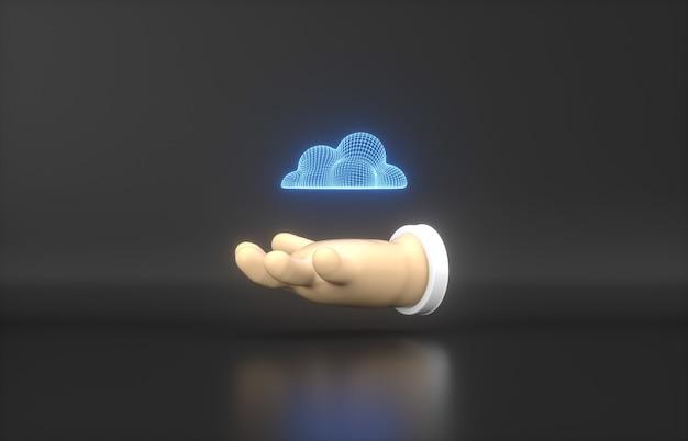 Mão dos desenhos animados 3d com o ícone de néon de nuvem em fundo preto.