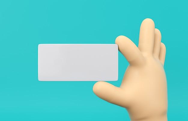 Mão dos desenhos animados 3d segurando a maquete de cupom em branco sobre fundo isolado.