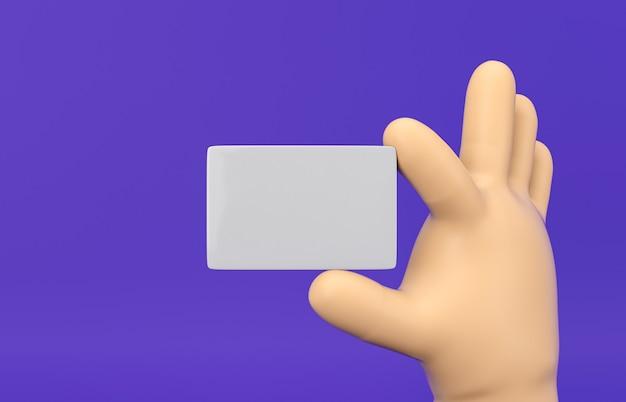 Mão dos desenhos animados 3d segurando a maquete do cartão em branco sobre fundo isolado.