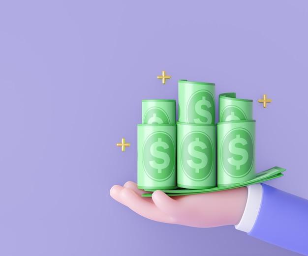 Mão dos desenhos animados 3d segurando notas de dinheiro. conceito de marketing. renderização de ilustração 3d.