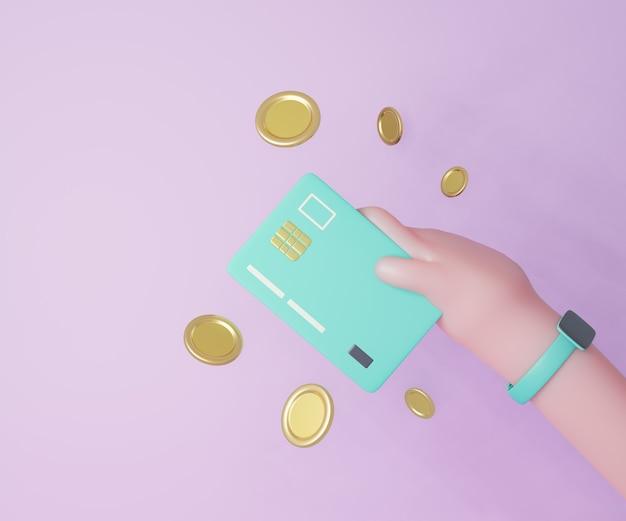 Mão dos desenhos animados 3d segurando o cartão de crédito atm com moedas de ouro sobre fundo roxo. renderização de ilustração 3d.