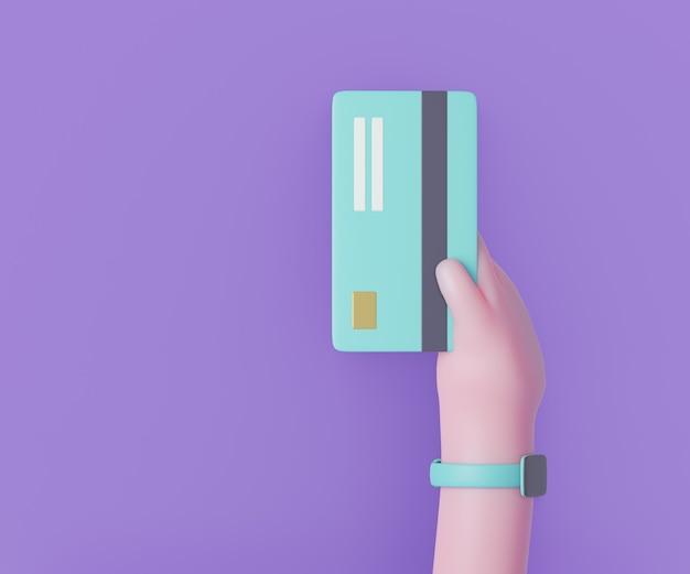 Mão dos desenhos animados 3d segurando o cartão de crédito do dinheiro em fundo roxo. ilustração de renderização 3d