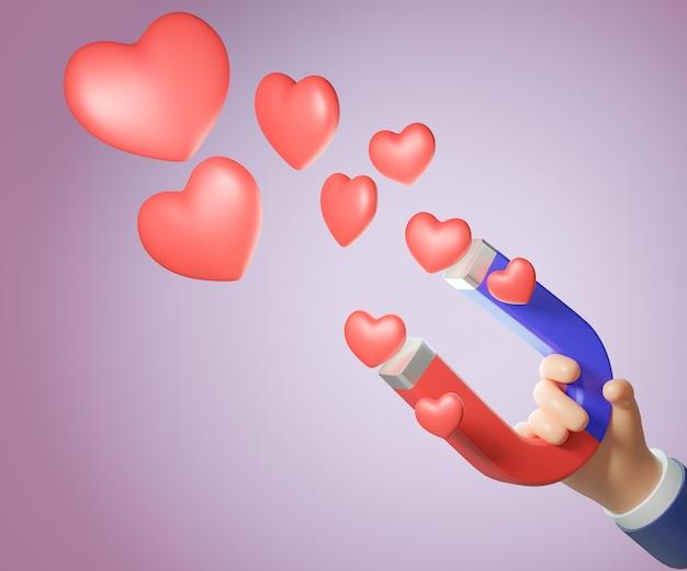 Mão dos desenhos animados 3d segurando o ímã com coração vermelho. conceito de marketing. renderização de ilustração 3d.