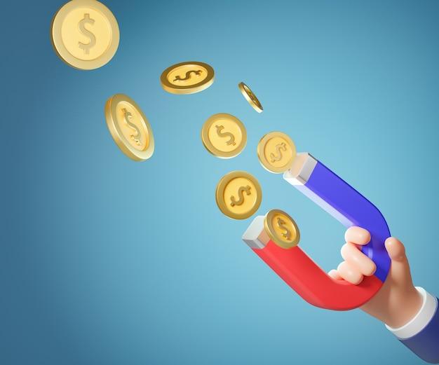 Mão dos desenhos animados 3d segurando o ímã com moedas de ouro. conceito de marketing. renderização de ilustração 3d.