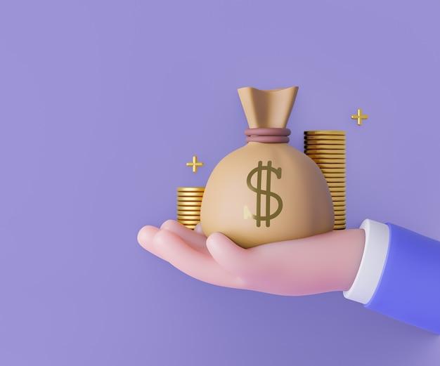 Mão dos desenhos animados 3d segurando o saco de dinheiro com o ícone de moedas de ouro no fundo roxo. ilustração de renderização 3d