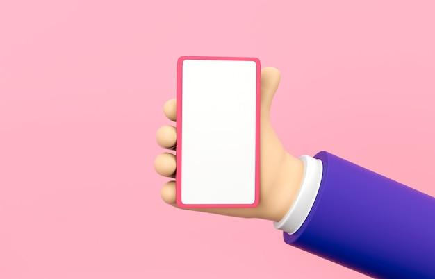 Mão dos desenhos animados 3d segurando o telefone móvel com maquete de tela no fundo isolado.