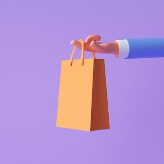Mão dos desenhos animados 3d segurando sacolas de compras no fundo roxo, compras online, conceito de promoção de venda. ilustração 3d render