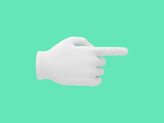 Mão dos desenhos animados com o dedo indicador. ilustração sobre fundo de cor verde. renderização em 3d.