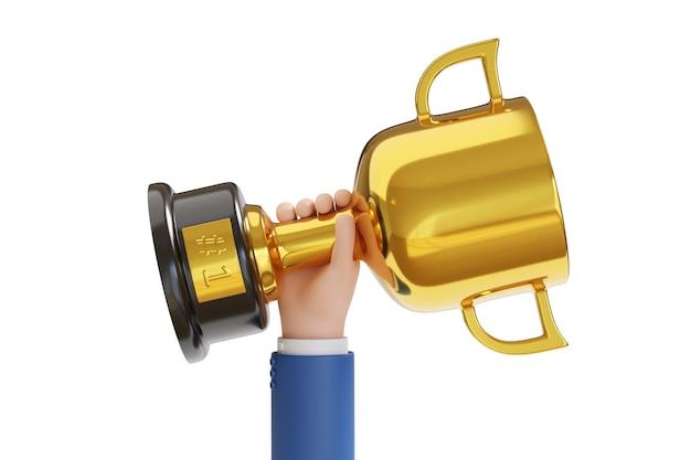 Mão dos desenhos animados, levantando o fundo branco do om do troféu número um.