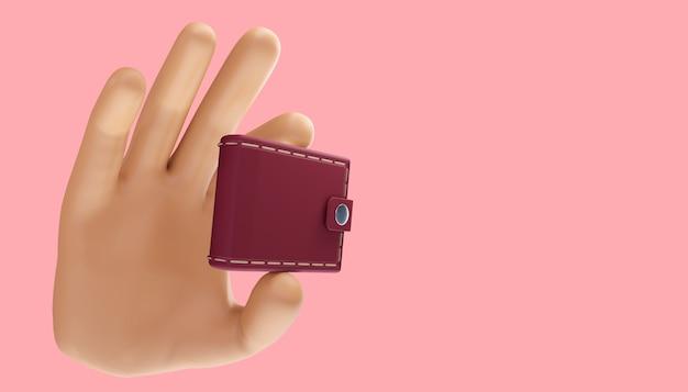 Mão dos desenhos animados segurando a carteira em um fundo isolado. ilustração 3d.