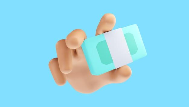 Mão dos desenhos animados segurando pacotes em dinheiro em um fundo isolado. ilustração 3d.