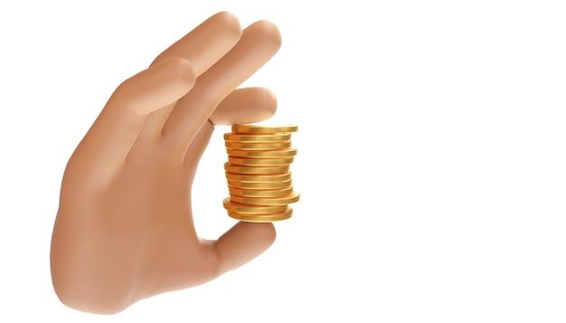 Mão dos desenhos animados segurando uma pilha de moedas em um fundo isolado. ilustração 3d