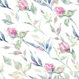 Mão em aquarela floral desenhada com flores e pétalas padrão sem emenda
