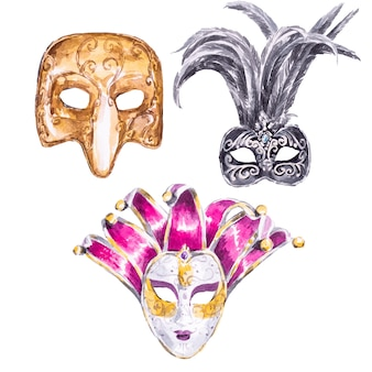 Mão em aquarela pintada máscara de veneza isolada em um branco. conjunto de clipart de máscaras de carnaval.