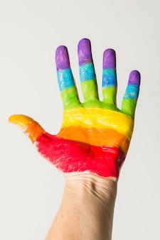 Mão em cores brilhantes lgbt
