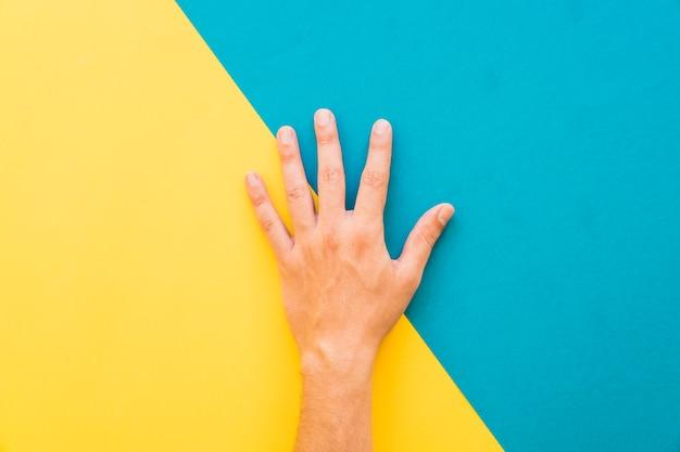 Mão em fundo amarelo e azul