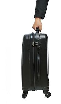 Mão empresário, com, bagagem