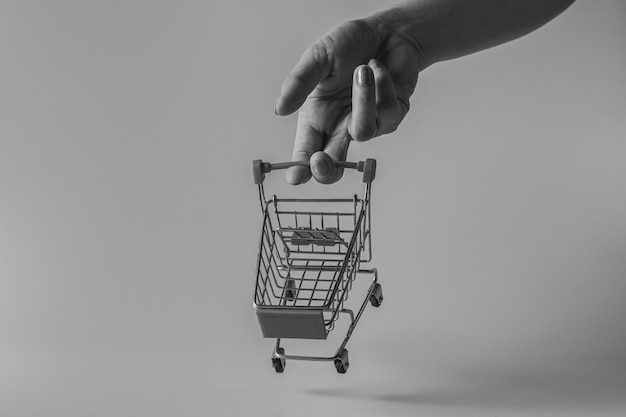 Mão empurrando um pequeno carrinho de compras. conceito de compras e varejo.