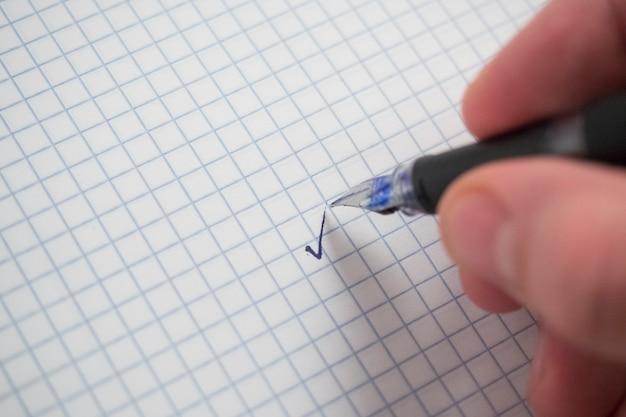 Mão, escrita, caneta, papel