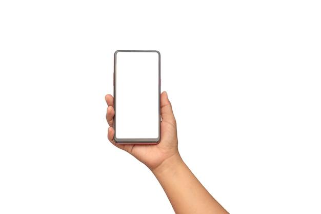 Mão está segurando a tela branca, o telefone móvel é isolado em um fundo branco com o traçado de recorte. conceito de conexão de comunicação.