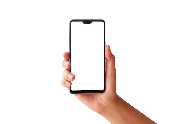 Mão está segurando a tela branca, o telefone móvel é isolado em um fundo branco com o traçado de recorte.