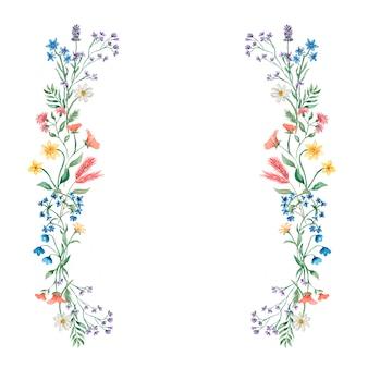 Mão-extraídas aquarela primavera e verão floral grinalda ilustração