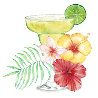 Mão-extraídas ilustração aquarela de cocktail fresco de verão com decoração floral e limão.