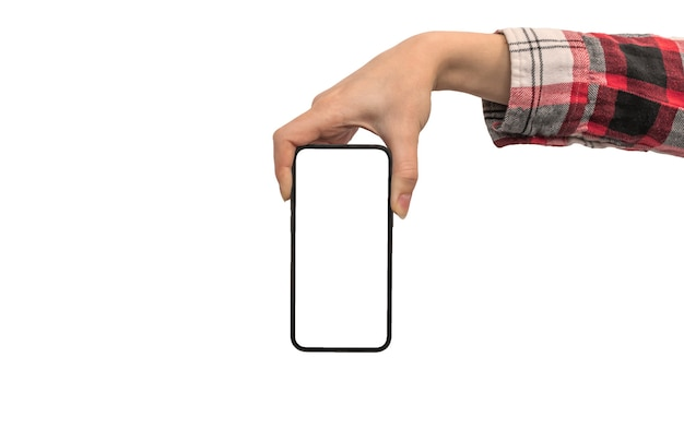 Mão feminina com maquete de smartphone, isolada em uma foto de fundo branco