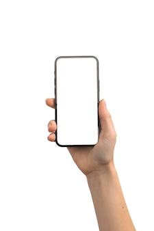 Mão feminina com maquete de tela de smartphone isolada em uma foto de fundo branco