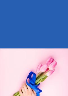 Mão feminina com tulipas no pano de fundo rosa e azul