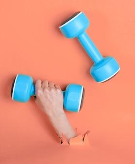 Mão feminina está segurando halteres de plástico azul através do papel rosa rasgado. conceito de esporte minimalista