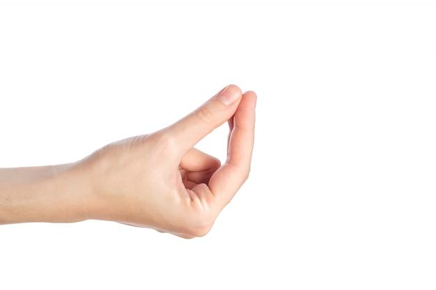 Mão feminina mostra gwsture onde está meu dinheiro isolado em um branco