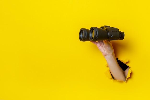 Mão feminina segurando binóculos pretos