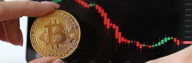Mão feminina segurando moeda bitcoin perto do telefone com gráfico close-up