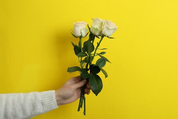 Mão feminina segurando rosas em amarelo