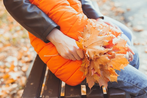 Mão feminina segurando um buquê de folhas de bordo de outono, outono e conceito de natureza