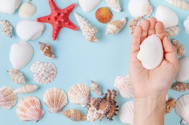 Mão feminina segurar uma concha sobre um fundo azul de verão com diferentes conchas e estrelas do mar