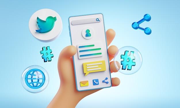 Mão fofa segurando ícones do twitter de telefone em torno da renderização 3d