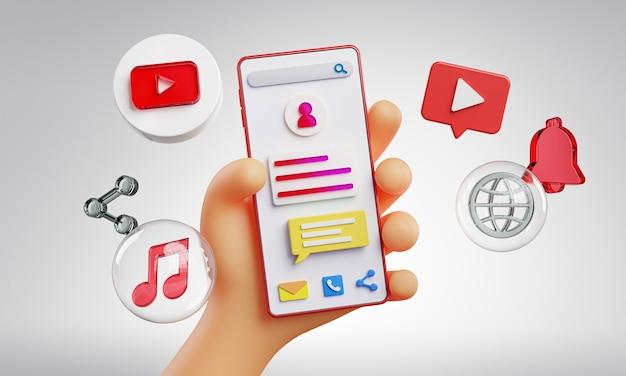 Mão fofa segurando ícones do youtube no telefone e renderização em 3d
