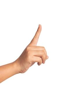 Mão humana apontando algo em branco