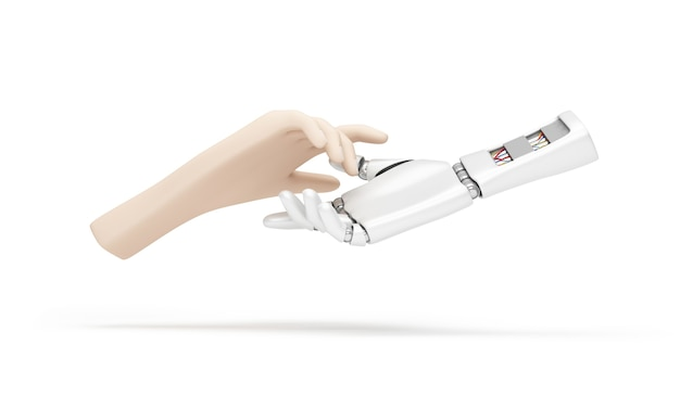 Mão humana e mão robótica de metal em fundo branco