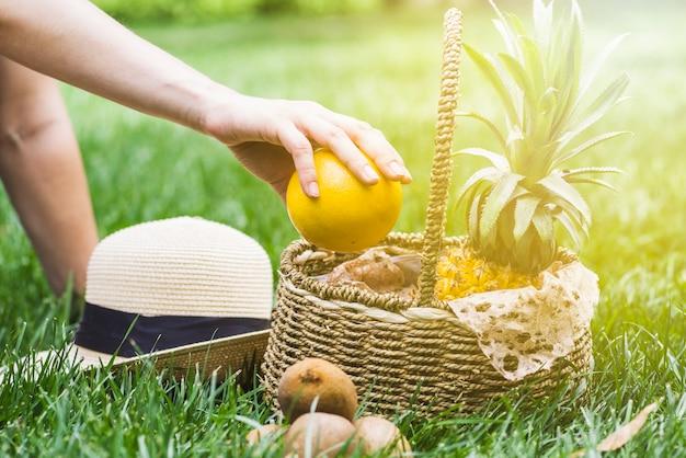 Mão humana segurando a fruta laranja com cesta e chapéu na grama verde