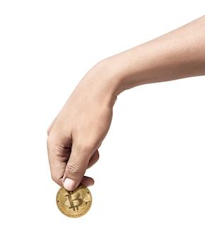 Mão humana, segurando, bitcoin ouro