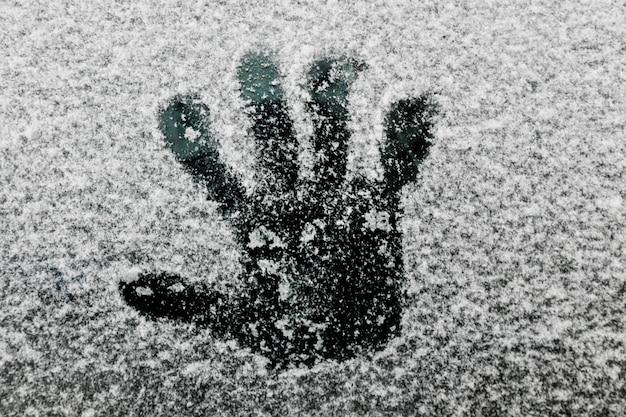 Mão, imprima, ligado, vidro, em, inverno
