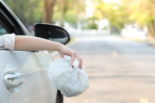 Mão, jogar, sacola plástica, estrada