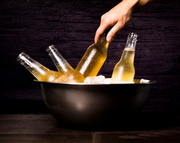 Mão, levando, garrafa cerveja, de, balde