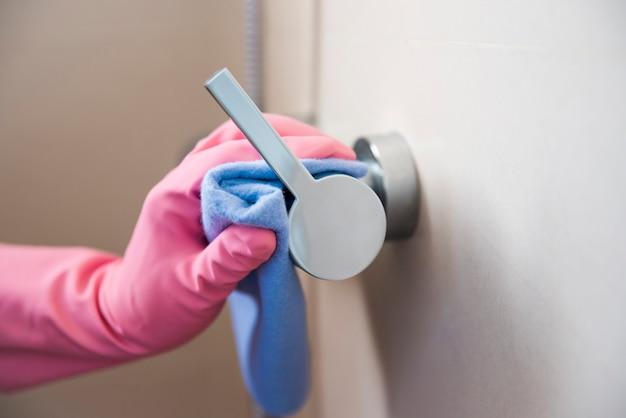 Mão, limpeza, puxador porta