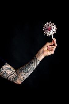 Mão masculina com flor de alcachofra seca em fundo preto, cartão comemorativo ou conceito