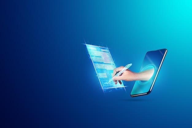 Mão masculina e contrato de holograma de smartphone moderno. conceito de assinatura eletrônica, negócios, colaboração remota, espaço de cópia. mídia mista.